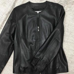 Preston & York Leather Biker Jacket Large So Soft!